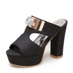 Frauen Funkelnde Glitzer Stämmiger Absatz Sandalen Absatzschuhe Plateauschuh Pantoffel mit Strass Schuhe
