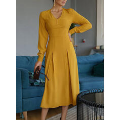 Solid Long Sleeves A-line Skater Casual/Elegant Midi Dresses