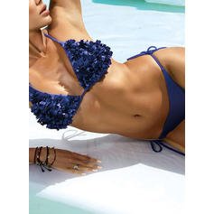 Color Sólido Cintura Baja Cuello en V Sexy Elegante Bikinis Trajes de baño