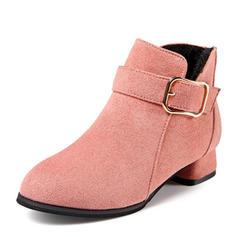 Flicka rund tå Stängt Toe Boots Mocka låg klack Platta Skor / Fritidsskor Stövlar Flower Girl Shoes med Spänne