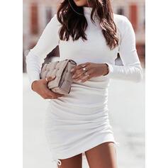 Jednolity Długie rękawy Bodycon Nad kolana Nieformalny Sukienki