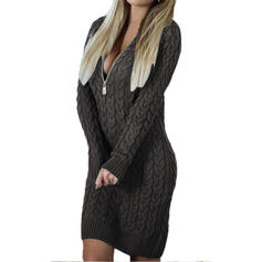 Solid Cable-knit Chunky knit V-Neck Sweater Dress