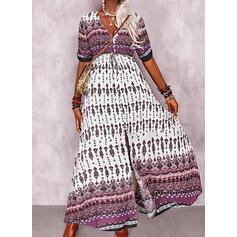 Print 3/4 Sleeves A-line Skater Casual/Boho Maxi Dresses