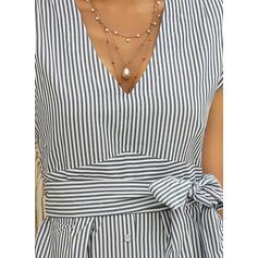 縞模様の 半袖 Aラインワンピース スケーター カジュアル ミディ ドレス