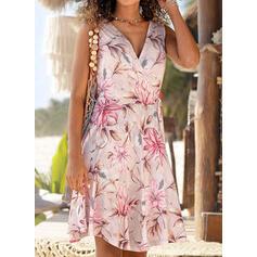 Print/Floral Sleeveless A-line Knee Length Vacation Wrap/Skater Dresses