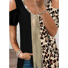 Color Block Leopard Trykk Kald skulder Kortermer T-skjorter