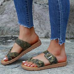 Pentru Femei Imitaţie de Piele Fară Toc Sandale Puţin decupat în faţă Şlapi cu Cataramă pantofi