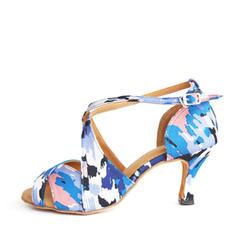 Latin Heels Sandals Satin With Buckle Hollow-out Latin