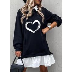 印刷/カラーブロック/ハート 長袖 シフトドレス 膝上 カジュアル ドレス