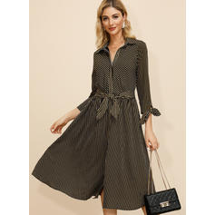 Striped Long Sleeves A-line Casual Midi Dresses