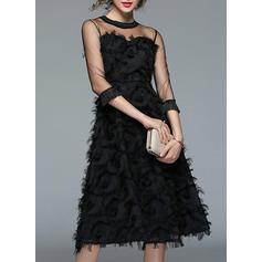 Solid 3/4 Sleeves A-line Midi Vintage/Little Black/Party/Elegant Dresses