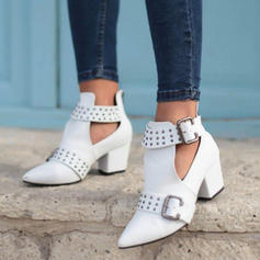 Women's PU Chunky Heel Pumps Boots With Rivet Buckle shoes