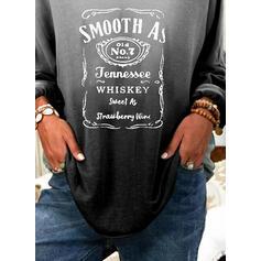 Figur Gradient Druck V-Ausschnitt Lange Ärmel T-Shirts