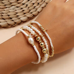 En couches Alliage De faux pearl Bracelets (Lot de 4)