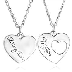 Heart Shaped Alloy Mother Daughter Necklace