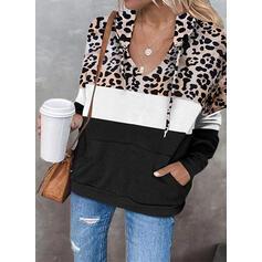 Blok Koloru lampart Bluza z kapturem Długie rękawy T-shirty