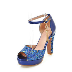 Women's Leatherette Sparkling Glitter Stiletto Heel Sandals MaryJane With Buckle