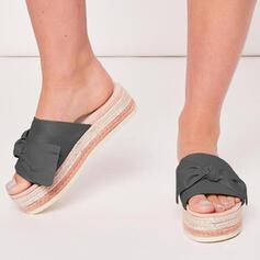 De mujer Tela Tacón plano Sandalias Encaje Pantuflas con Bowknot zapatos
