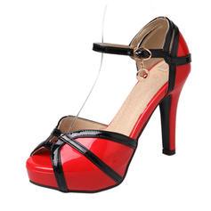 Femmes Similicuir Cuir verni Talon stiletto Sandales Escarpins Plateforme À bout ouvert chaussures