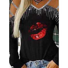 Stampa Paillettes Spalle esposte Maniche lunghe Casuale Sexy Camicie