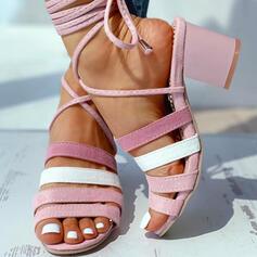 Femmes Suède Talon bottier Sandales À bout ouvert avec Dentelle chaussures