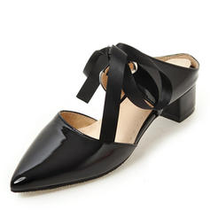 Women's Patent Leather Low Heel Sandals Platform Slingbacks With Bowknot shoes