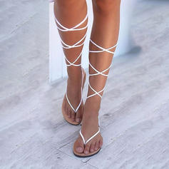 De mujer Cuero Tacón plano Sandalias Planos Encaje Solo correa con Agujereado zapatos