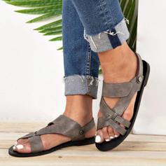 Femmes PU Talon plat Sandales À bout ouvert avec Ouvertes chaussures