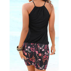 Floral Splice color Backless Strap High Neck Sexy Classic Plus Size Casual Cover-ups Swimsuits