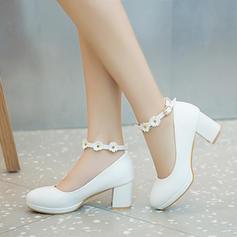 Naisten Keinonahasta Chunky heel Avokkaat Platform Suljettu toe jossa Käyttää kengät