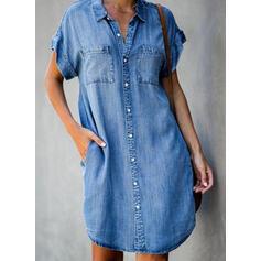 Solid Short Sleeves Shift Above Knee Casual/Denim Dresses