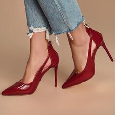Bayanlar PU Topuklu ayakkabı Pompalar Sivri parmak Ile Oymak Katı Renk ayakkabı