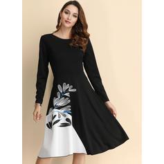 Print Long Sleeves A-line Knee Length Vintage/Casual/Elegant Dresses