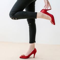 Donna raso di seta come Tacco a spillo Stiletto con Cristallo scarpe
