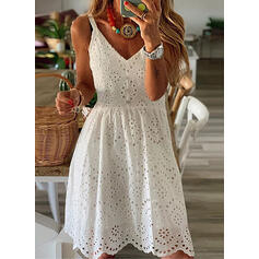 Solid Sleeveless A-line Knee Length Casual Slip/Skater Dresses