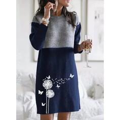 Floral/Bloc de culoare/Animal Print Mâneci Lungi De schimb Deasupra Genunchiului Casual Pulover Elbiseler