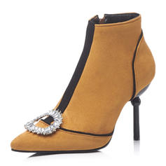 Women's Suede Stiletto Heel Boots Ankle Boots With Crystal shoes