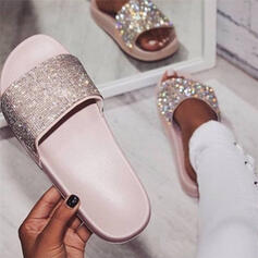 Women's PU Flat Heel Slippers With Rhinestone shoes