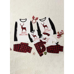 Reindeer Plaid Letter Family Matching Christmas Pajamas
