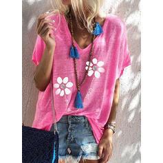 Figure Floral Print Sequins V-Neck Short Sleeves T-shirts