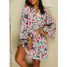 Print Long Sleeves/Flare Sleeves Shift Knee Length Casual Tunic Dresses