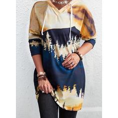 Imprimeu Mâneci Lungi Kapüşonlu svetşört