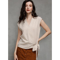 Solid V-Neck Sleeveless Casual Elegant Blouses