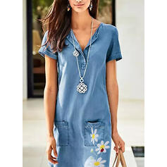 Print/Floral Short Sleeves Shift Above Knee Casual/Denim Dresses