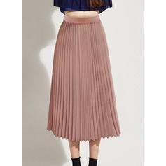 7c0d24accbae ... Šifón Jednobarevný Do půl lýtek Skládané sukně Sukně do tvaru A ...
