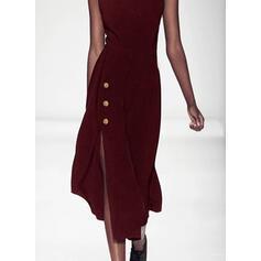 Solid Sleeveless Sheath Little Black/Casual Midi Dresses