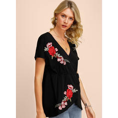 Embroidery Floral V-neck Short Sleeves Casual Blouses