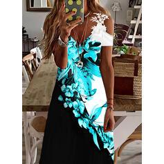 Impresión/Floral/Trozos de color Encaje Manga Corta manga de hombros fríos Vestidos sueltos Casual/Vacaciones Maxi Vestidos