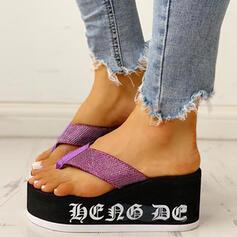 Vrouwen Stof Wedge Heel Sandalen Peep Toe Flip Flops Slippers met Anderen schoenen