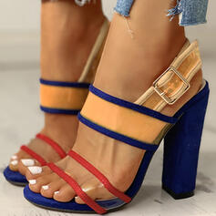Donna PU Tacco spesso Sandalo Punta aperta con Fibbia scarpe
